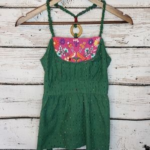 Free People Boho Tank Top with Embroidered Birds